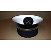 White Leatherette Round Top Class A Cap - DIV CHIEF